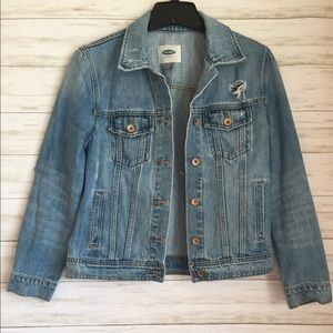 Distressed Old Navy denim jacket